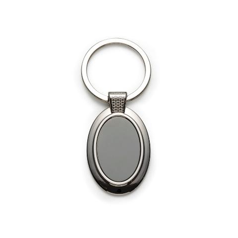 Chaveiro Oval de Metal Texturizado
