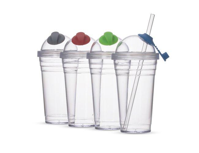 Copo Plástico com Canudo (480ml)