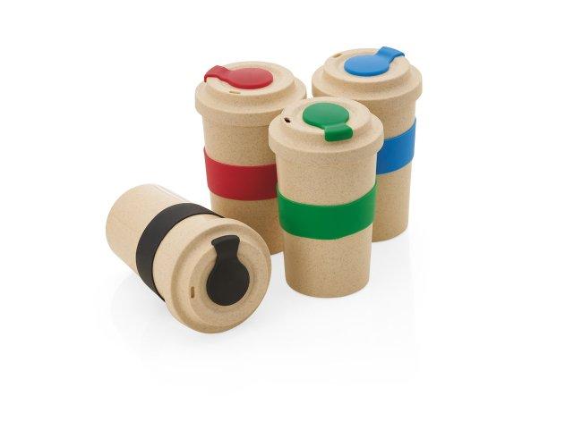 Copo Fibra de Bambu com Pegador e Protetor de Bico de Silicone (450ml)