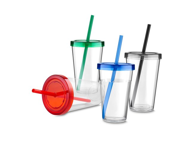 Copo Plástico Transparente com Tampa e Canudo Colorido (600 ml)