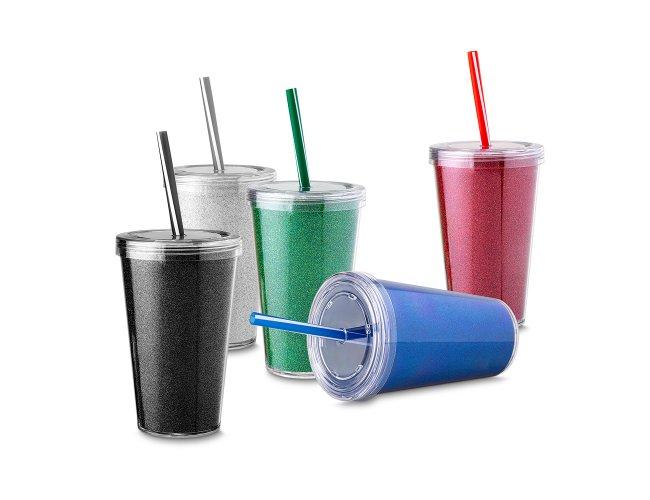 Copo Plástico Parede Dupla com Canudo Biodegradável (550ml)