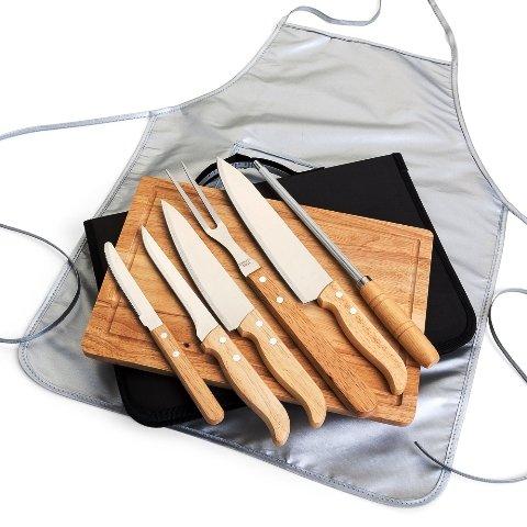 Kit Talheres para Churrasco com 8 Peças em Estojo de Nylon