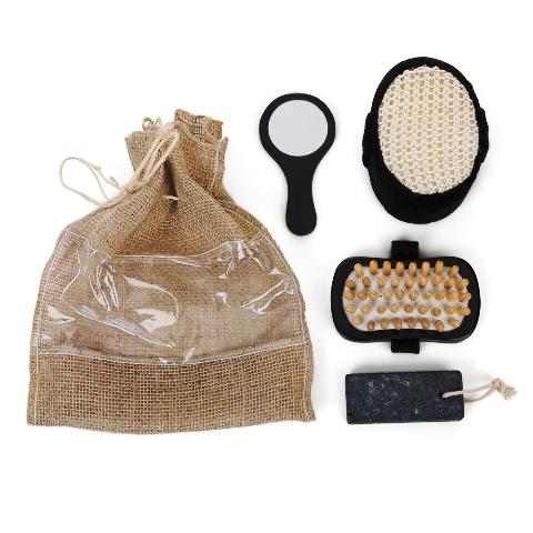 Kit Banho Ecológico com 4 Peças em Saco de Juta