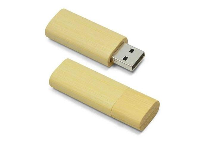 Pen Drive de Bambu Redondo 4GB com Tampa