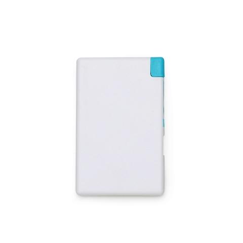 Power Bank Branco e Azul em Formato de Cartão