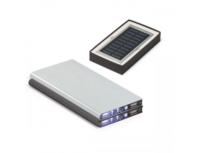 Bateria Portátil com LED e Painel Solar