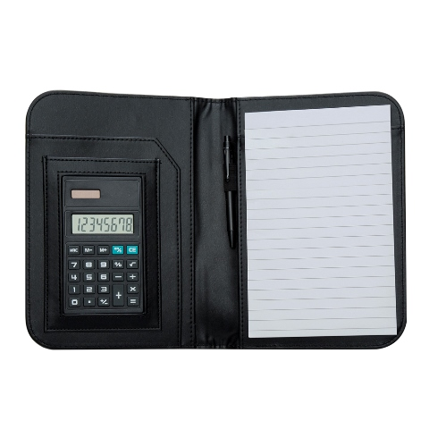 Bloco de Anotações com Calculadora e Caneta Internos com Acabamento