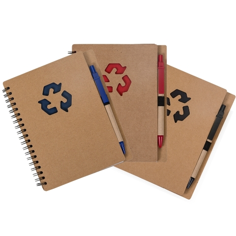 Bloco de Anotações Reciclável com Caneta