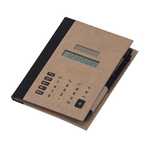 Bloco de Anotações com Capa Calculadora Solar, Caneta e Post it