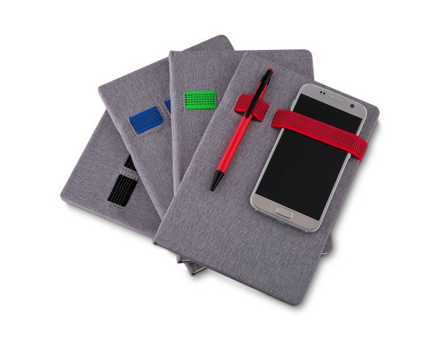 Caderno Capa Tecido com Suporte para Celular e Caneta