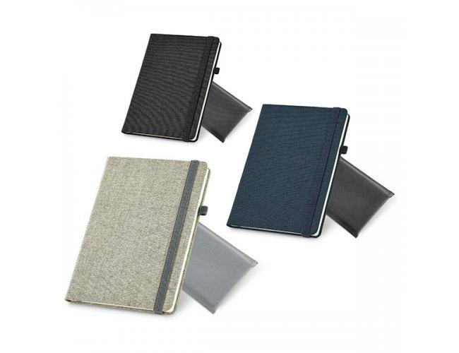 Caderno Capa Dura com Revestimento em Tecido e Embalagem TNT