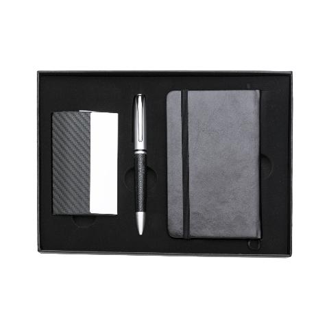 Kit Executivo de 3 Peças com Estojo em Papelão (Caderneta, Caneta  e Porta Cartão)