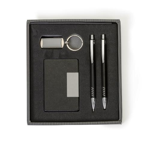 Kit Executivo de 4 Peças com Estojo de Visor Plástico(Chaveiro, Porta Cartão, Caneta e Lapiseira