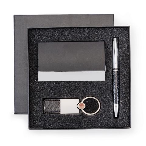 Kit Executivo de 3 Peças com Estojo em Papelão (Chaveiro, Porta Cartão com Imã e Caneta)
