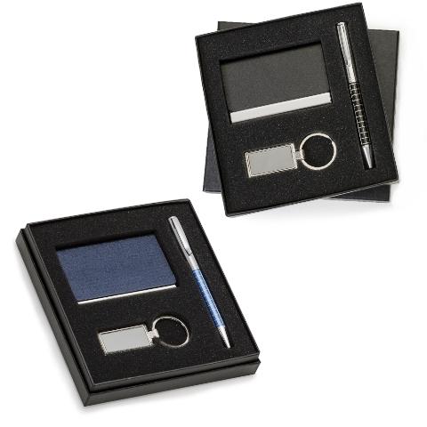 Kit Executivo de 3 Peças com Estojo em Papelão (Chaveiro, Porta Cartão com Imã e Caneta Quadriculada)