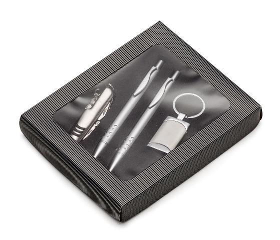 Kit Executivo de 4 Peças com Caneta, Lapiseira, Canivete e Chaveiro