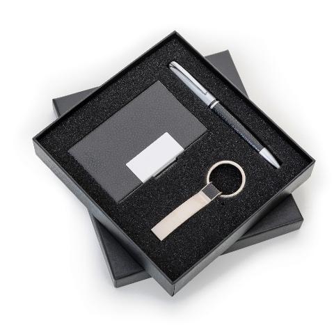 Kit Executivo de 3 Peças (Chaveiro, Porta Cartão e Caneta Fosca)