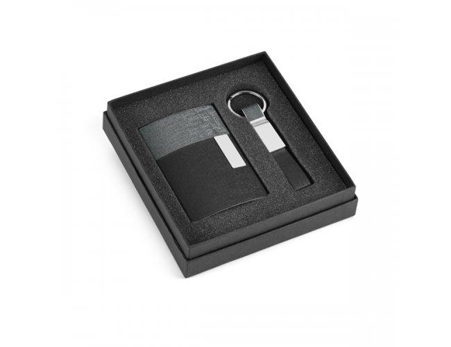 Kit de Porta Cartões e Chaveiro Cinza