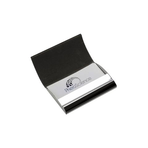 Porta Cartão de Metal com Material Sintético Marrom