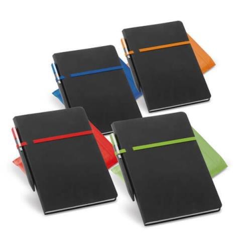 Caderno em Material Sintético e Detalhes Coloridos