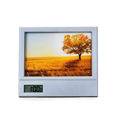 Porta Retratocom Relógio Digital e Porta Canetas