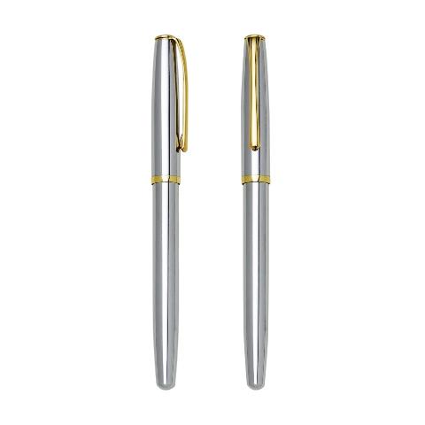 Caneta Roller Prata com Detalhes em Dourado