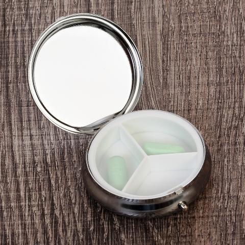 Porta Comprimidos de Metal com 3 Divisórias