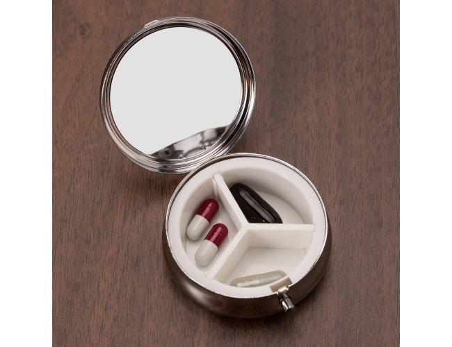 Porta Comprimido Redondo Espelhado